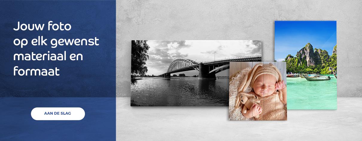 Wanddecoratieplaza jouw foto op elk gewenst materiaal en formaat.